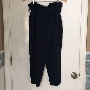 Boden Petite Paper Bag Pants in Navy